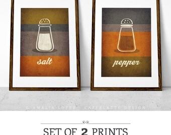 Set of 2 PRINTS. Kitchen print. Typographic print. Kitchen art. kitchen poster. Typography poster. Giclee. Orange print. Salt Pepper. UK