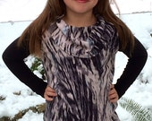 Super Cute and Stylish Girl's Animal Print Tunic Cowl Neck  Top