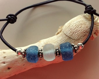 Sea Glass and Silver Adjustable Sliding Knot Dark Brown Leather Cord Bracelet