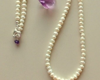 Freshwater Pearl Necklace with Mother of Pearl Cross - Your Choice Of Cross Color