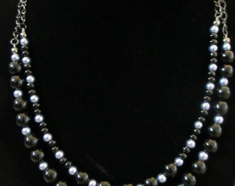 Multi-Strand Black and Periwinkle Gunmetal Necklace