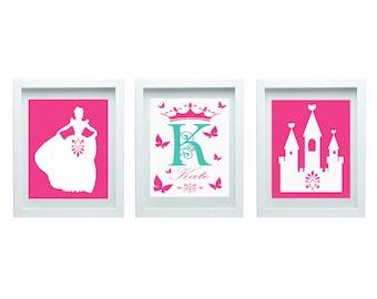 Princess Wall Art Girl Bedroom Decor Nursery Art Princess Nursery Decor, Personalized Name Initial, Princess Wall Decor Girl Room Decor,