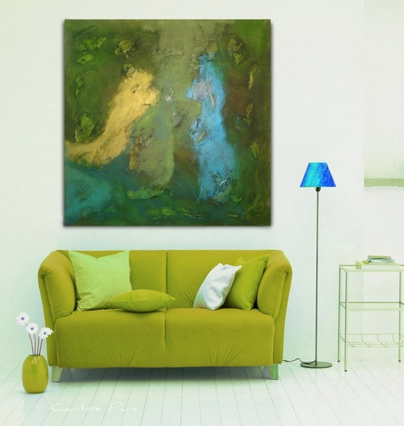 """Gran Plaza verde abstracto arte pieza - """"Verde Uno"""" acrílico - 100cmx100 rodado en un tubo - envío gratuito - Carlos Pun"""