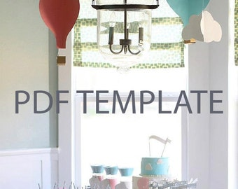 PDF Template - 3D hanging hot air balloons and clouds - Hot air balloon party - First birthday
