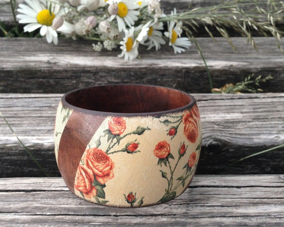 Roses Bracelet, Rustic Brown Bangle, Flower Jewelry, Floral Wood Bangle