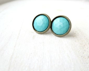 Polished turquoise vintage button earrings