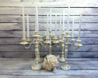 5 Wedding Candle Candelabras 3 arm Shabby Candle Holder Distressed Creamy White