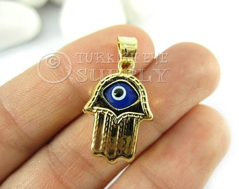 1 pc Gold Hamsa Evil Eye Pendant, Blue Glass Evil Eye Hand of Fatima Charm, 22K Gold Plated Turkish Jewelry