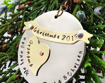 Personalized Family Christmas Ornament, Gift for Grandma, Family Ornament, Grandmother Gift from Kids, Tree Decoration, Ornament with Names