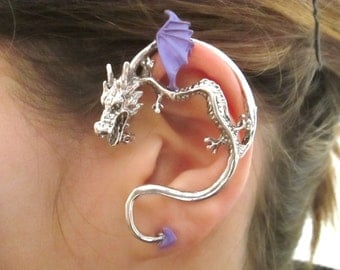 Purple and silver dragon ear cuff - gothic jewelry dragon earrings