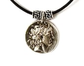 Greek Coin Pendant Necklace, Alexander the Great Pendant, Black Leather Necklace