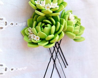 Tender Green Succulent Hair Pins  - Realistic flowers - Blossoms wedding accessories - Succulent accessories