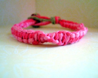 Bright Colored Pink Embroidery Floss Bracelet