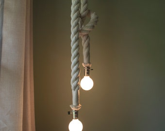 "Chic 1.5"" Cotton Rope Hanging Pendant Chandelier w/ Nickel Paddle Key Socket"