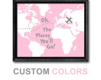 aviation baby pink gray, oh the places you'll go map, dr seuss poster, little traveler girl nursery art, dr seuss baby girl room decor