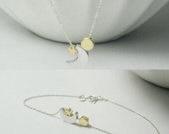 Moon Jewelry, Moon Necklace Bracelet, Sun Jewelry ,Etsy.Sun Bracelet,Necklace ,Stars Necklace Bracelet, Stars jewelry,Gift Idea, Astronomy