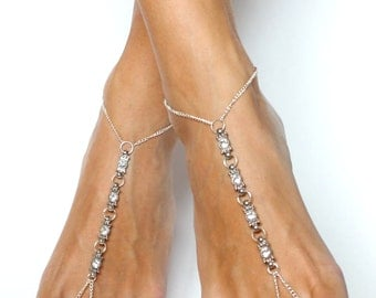 Crystal and Silver Pair of Barefoot Sandals Beach Wedding Shoes Chained Anklet
