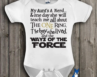 Funny Baby Clothes-Geekery baby-My Aunts A Nerd-The One Ring-The Boy Who Lived-Ways of the Force-Baby Shower Gift-Blue Fox Apparel-188
