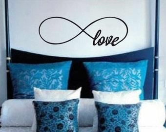 Bedroom wall decal - infinity Love wall vinyl - Vinyl Wall Art Decal - Guest room Vinyl Lettering - Vinyl Quote Wall Decal
