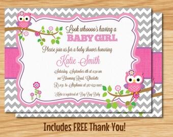 Custom Made Owl Baby Girl Shower Invitation