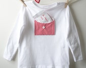 Kids Valentines Day White T shirt with chevron Print Pocket, Valentines Gift Idea for Boys or Girls, Customized Love Note Tee Size 2,4, & 6 - fernandfawn