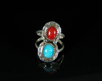 Sleeping Beauty Turquoise and Coral Ring Sterling Silver Handmade Size 8.0, R0395