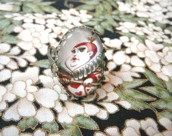 Queen of Hearts ring - original illustration - Alice in Wonderland ring, alice in wonderland jewelry, wonderland cosplay, wonderland gift
