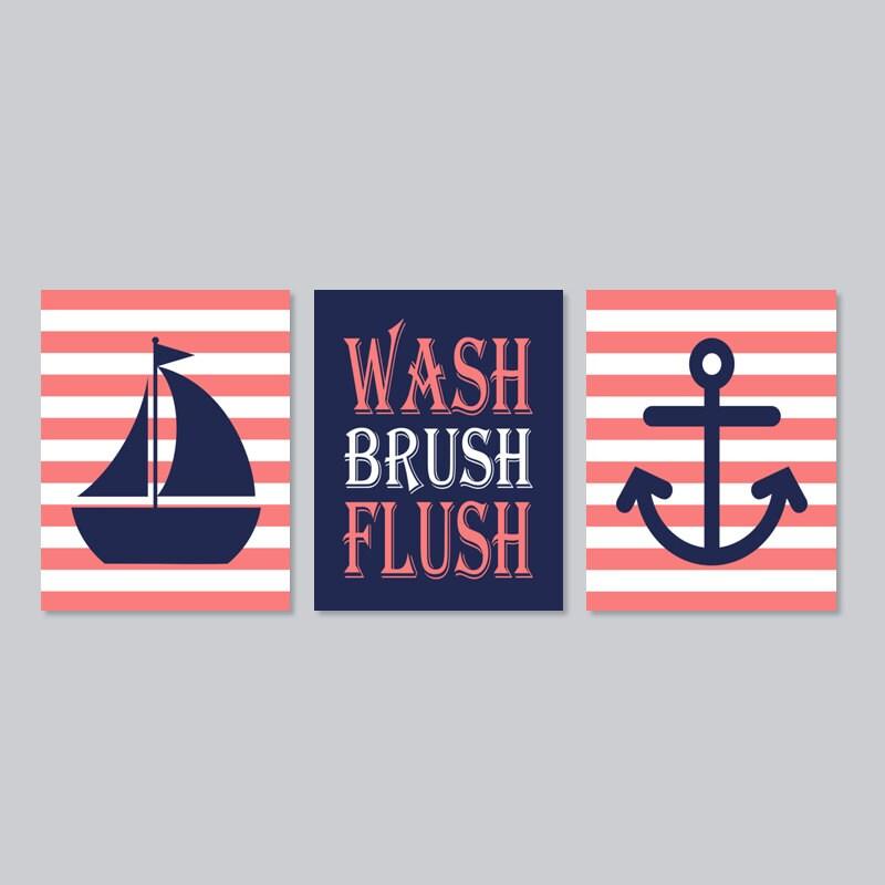 Kids Nautical Bathroom Decor Wash Brush Flush By LovelyFaceDesigns