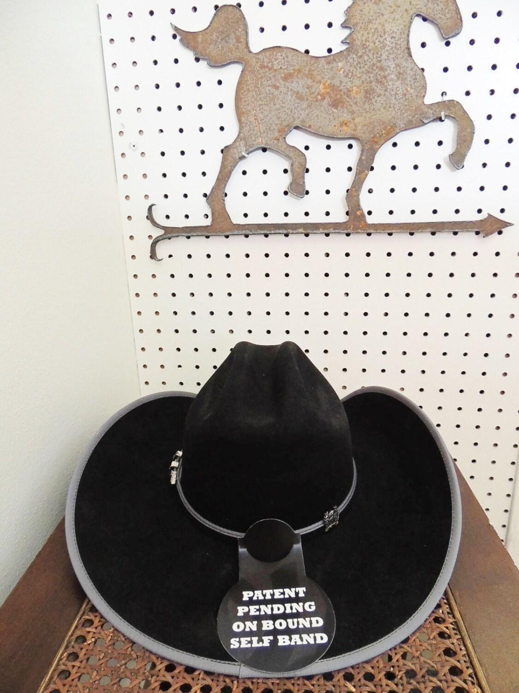 Cinch Felt Fur Cowboy Hat New In Box Black W Grey Trim Size