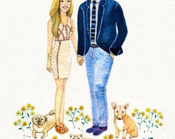 11x14 inch.  Custom Watercolor Portrait, Couple Illustration, Family Portrait, Custom Portrait illustration Couple Gift