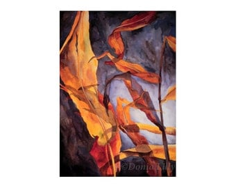 Autumn Leaves metal wall art of watercolor painting earthy wine red, orange, yellow, blue, brown, gray by Hawaii fine artist Donia Lilly