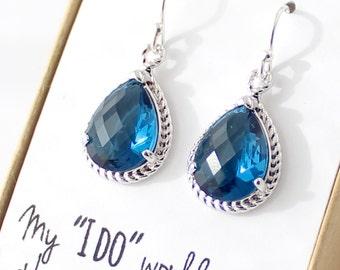 Navy Blue / Silver Rope Rim Earrings - Navy Bridesmaid Earrings - Montana Blue Drop Earrings - Silver Earring - Something Blue - ER1