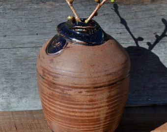 Vintage pottery vase//hand thrown// glazed and unglazed terra-cotta//large