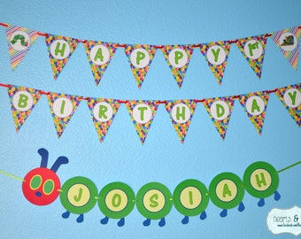 Very Hungry Caterpillar Happy Birthday Banner / Very Hungry Caterpillar Birthday / First Birthday Banner - Printable - FILE to PRINT