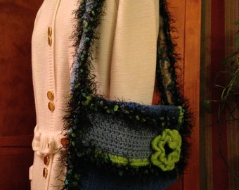Crocheted Blue and Green Flowered Bag