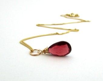 14k gold garnet necklace, January birthstone jewelry, genuine garnet jewelry, solid gold gemstone necklace, burgundy red garnet pendant