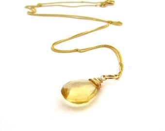 14k gold citrine necklace, November birthstone jewelry, yellow citrine gemstone, 14k gold birthstone necklace, solid gold citrine pendant