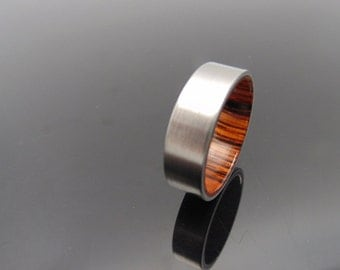 Titanium and wood ring,   Cocobolo waterproof wood ring
