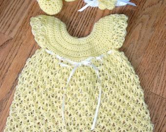 Handmade crocheted summer yellow baby dress, headband & booties set Newborn - 3 moths