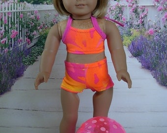 2 Piece Bathing Suit Set fits American Girl Doll and 18 inch dolls