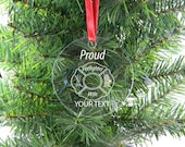Personalized Custom Proud Firefighter Wife Clear Acrylic Christmas Tree Ornament