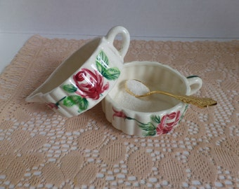 Vintage Stacked Creamer and Sugar Bowl Floral Red Flowers, Red Roses Cream and Sugar Set