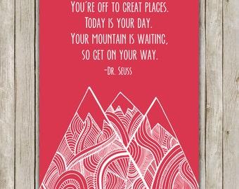 8x10 Dr. Seuss Art Print, Raspberry Nursery Print, You're Off To Great Places, Geo Mountain Art, Nursery Decor, Instant Digital Download