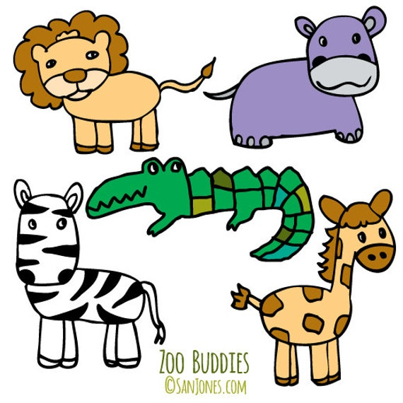 zoo animals clip art hand drawn clipart zoo clipart from rh etsystudio com free clipart zoo animals clip art zoo animal pictures