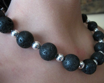Lava and Silver necklace