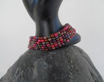 Beaded red/brown mix bracelet ,  red bracelet, fall bracelet,handmade