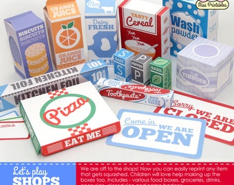 FOOD packaging printable, for children's pretend play. Printable templates.