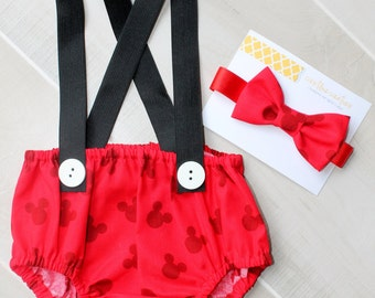 Mickey Mouse Cake Smash Outfit, First Birthday Outfit, Cake Smash Set