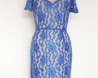 Royal blue stretch lace sweetheart neck fitted dress/evening /party/short sleeve