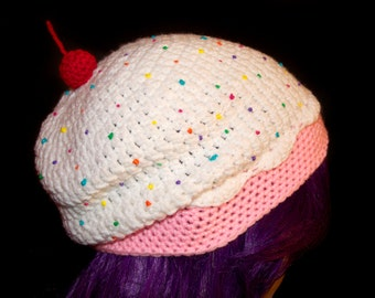 Strawberries and Cream Cupcake Slouchy Beret / Ready to Ship